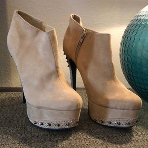 Tan suede spike booties
